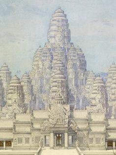 Vue idéale du Bayon depuis l'est. Aquarelle de Louis Delaporte et H. Devérin, 1891.