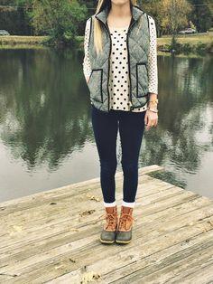 herringbone vest + duck boots.