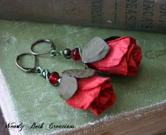 Red Rose Earrings by WendyBethCreations on Etsy, $16.00