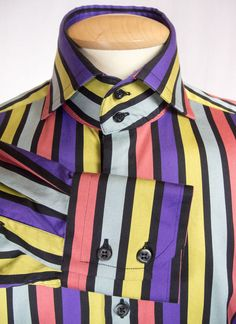 HAWES & CURTIS YORK Mens Dress Shirt Size M Bold Multi Color Stripe High Collar #HawesCurtis