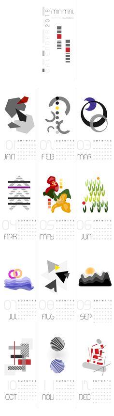 MINIMAL ILLUSTRATIONS Calendar 2018 #minimal #illustration #calendar #2018