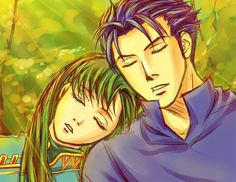 Fire Emblem Blazing Sword - Lyn and Hector. I love this couple!