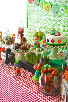 Very Hungry Caterpillar Party - Love the fruit canisters