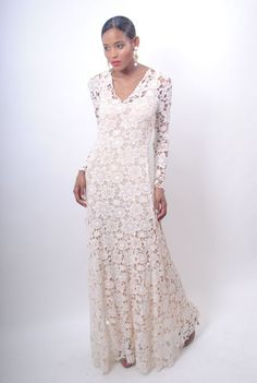 1970's lace vintage wedding gowns | Vintage 1970s Lace Boho Wedding Dress Ivory Sheer Crochet Cutout Floor ...