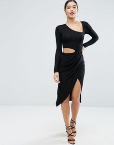 ASOS Cut Open Wrap Midi Dress