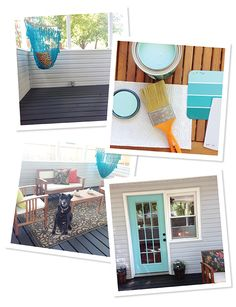 That gorgeous turquoise color of the door is Behr's Jamaica Bay. Ashley of Ashley Ella Design used it in her Back Deck + Door Update, and it looks fabulous. See the whole makeover on her blog. || @ashleyelladsgn