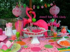 Pink Flamingo Tablescape -emmas first bday