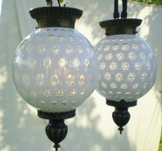 Vintage Dishes | Pair of Fenton White Opalescent hanging lamps from the ... | My Style