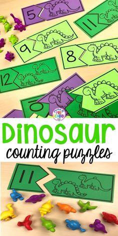 Dinosaur Counting Puzzles for preschool, pre-k, an. - Dinosaur Counting Puzzles for preschool, pre-k, an. Dinosaur Theme Preschool, Free Preschool, Preschool Themes, Preschool Printables, Preschool Learning, Preschool Puzzles, Dinosaur Dinosaur, Dinosaur Puzzles, Preschool Crafts