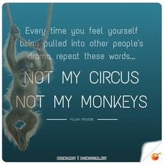 """Every time you feel yourself being pulled into other people's drama repeat these words, """"Not my Circus, Not my Monkeys."""""""