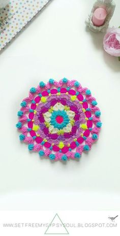 Peggy in Pink Bohemian Flower Mandala   Free Crochet Pattern - a floral star flower centre and yummy bobble frill edging. Easy to make using a combo of puff stitch, bobble stitch and treble crochet.