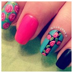 Black, Hot Pink, and Turquoise color with Flowers, and a Cross.