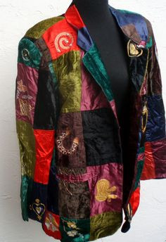 Vintage Patchwork Jacket with Embroidery by ShopGlammasAttic, $40.00