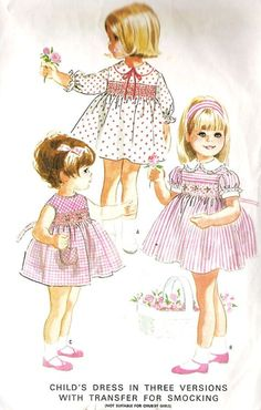 Girls Dress with Smocking Vintage Sewing Pattern, McCall's 8236 Vintage Girls Dresses, Vintage Dress Patterns, Vintage Outfits, Clothes Patterns, Little Girl Outfits, Kids Outfits, American Girl, Moda Peru, Patron Vintage
