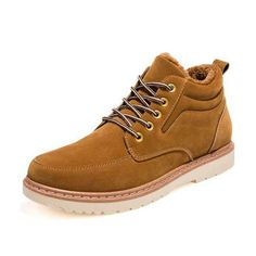 Lace Up Round Toe Nubuck Leather Ankle Short Boots For Men - US$36.99