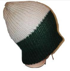 Green Aran  Reversible Handmade Retro Bobble / Beanie / Slouch Hats by www.RetroSheep.com