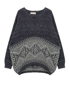 Geometric Pattern Irregular Hem Batwing Sleeves Pullover
