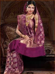 #Magenta Pure #Banarasi Summer #Silk #Saree with #Blouse @ $325.4 | Shop Here: http://www.utsavfashion.com/store/sarees-large.aspx?icode=slsnn48