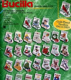 Bucilla Tiny Stockings Ornaments Counted Cross Stitch Kit Christmas, , hi-res