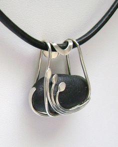 Pendant | Signe Lawson.  Sterling Silver,  Rare Black Scottish Sea Glass