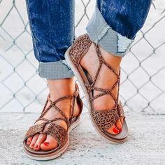 Flats Shoes Women Summer Leopard Shoes Flat Beach Open Toe Breathable Sandals – #sandalssummer #sandalsoutfit #sandalsboho #sandals #slidesandals #slides Leopard Sandals, Strappy Sandals, Flat Sandals, Gladiator Sandals, Trendy Sandals, Sandals Outfit, Criss Cross, Latin Shoes, Roman Sandals