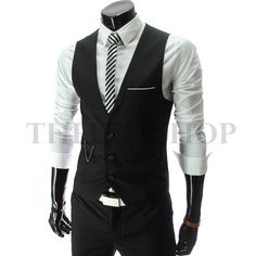 ::::Theleesshop:::: All mens slim & luxury items-mens slim sit chain point 3 button vest black