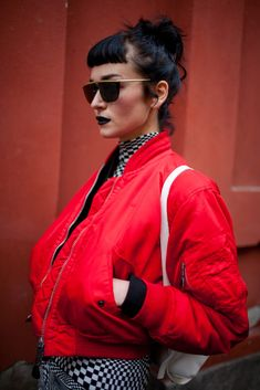 Milan Fashion Week Street Style 2016 | Red jacket swag [Photo: Kuba Dabrowski]