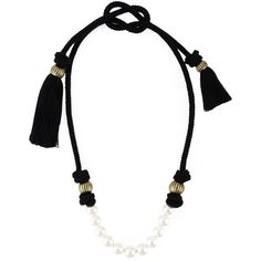 Lanvin Pearl Necklace (9.313.605 IDR) ❤ liked on Polyvore featuring jewelry, necklaces, black, pearl jewellery, cord necklace, tassel necklace, lanvin jewelry and tassel jewelry