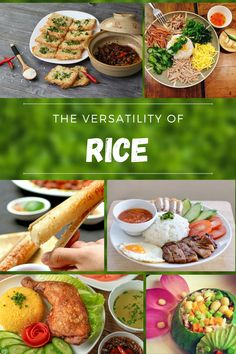 """Vietnamese people love rice, in fact, many of them feel unfulfilled eating a rice-less meal. Even though it has a dull taste, the soft and fluffy grains easily absorb every flavor that comes into contact, blend them all together and enhance them with a slight starchy sweetness. Everything is better with rice! From top to bottom and left to right: """"Cơm Cháy Kho Quẹt"""", """"Cơm Âm Phủ"""", """"Cơm Lam"""", """"Cơm Sườn Nướng"""", """"Cơm Gà Xối Mỡ"""", """"Cơm Hấp Lá Sen"""" Beautiful Vietnam, Vietnamese Cuisine, Grains, Good Food, Rice, Meals, Ethnic Recipes, People, Top"""