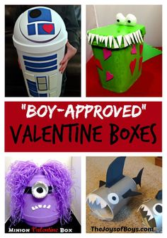 Do your kids bring Valentine boxes to school? My boys have loved making these Boy-approved Valentine Boxes.  R2D2 is my favorite!