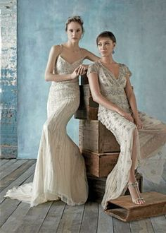 shimmery wedding gowns featuring the Lulu Gown from BHLDN / via: The Knot