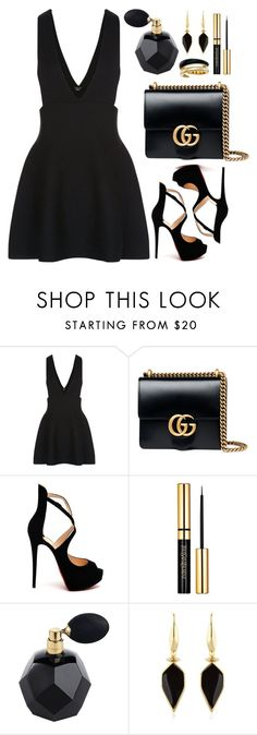 """""""New Look Teens Black Skater Pinafore Dress"""" by thestyleartisan ❤ liked on Polyvore featuring New Look, Gucci, Christian Louboutin, Isabel Marant and Michael Kors"""