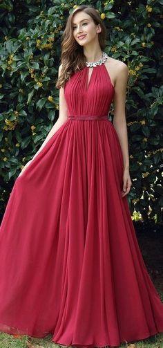 Burgundy Pleated Halter Formal Evening Dress,Long Chiffon Prom Dress,Party Dress from prettyladydress Trendy Dresses, Elegant Dresses, Cute Dresses, Beautiful Dresses, Chiffon Evening Dresses, Formal Evening Dresses, Dress Formal, Chiffon Dress, Silk Skirt