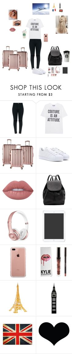 """""""Going to Paris,England and Scotland in the summer!"""" by sabellacunningham ❤ liked on Polyvore featuring Moschino, adidas, Kylie Cosmetics, Lime Crime, Witchery, Beats by Dr. Dre, Belkin and Brika"""