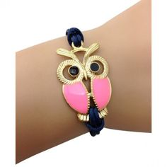 Adorable Pink and Navy Owl Bracelet for Mother's day.