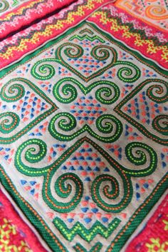 Vintage Hmong Fabric, handmade tapestry textiles, hill tribal ethnic fabric, on Etsy, $25.99