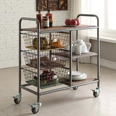 This Urban Metal Frame Kitchen Cart on Wheels provides small kitchens a compact and movable storage solution! Built to hold all your kitchen accessories. Wooden Stools, Wooden Shelves, Glass Shelves, Kitchen Carts On Wheels, Kitchen Trolley, Kitchen Tops, Diy Kitchen, Room Kitchen, Country Kitchen