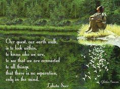 Wise words from a Lakota Seer from Raising Ecstacy's Photo American Indian Quotes, Native American Wisdom, Native American Indians, Native Americans, American Spirit, Native Quotes, Bev Doolittle, We Are All Connected, A Course In Miracles