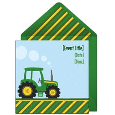 Customizable Farm Tractor online invitations. Easy to personalize and send for a party. #punchbowl