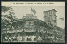 Apia : 10th anniversary of hoisting the German flag in Samoa (over Hotel Tivoli) in 1910.  Published by Chas. Roberts, Proprietor of Tivoli Hotel.