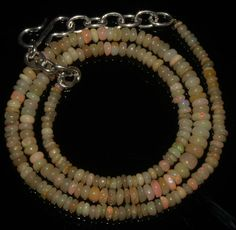 """25Crts 1Necklace 2to4mm 14"""" Beads Natural Ethiopian Welo Fire Opal  56943"""