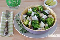 Receta de ensalada templada de berenjena y brócoli con bacalao ahumado. Con fotos del paso a paso, consejos y sugerencias de degustación. Recetas...