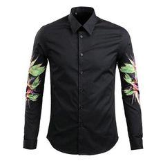 APTRO(アプトロ) メンズ綿100%長袖の黒シャツの印字 #01 M