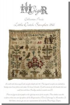 Little Dutch Sampler is the title of this cross stitch pattern from GiGi R. Click on highlighted link to add the fiber pack to your shopping cart.