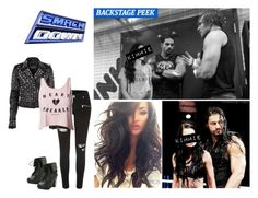 """""""Smackdown: Kimmie Jackson Having A Backstage Segment With Roman And Dean, Then Accompanying Roman To His Tag Team Match With Dean."""" by alyssaclair-winchester ❤ liked on Polyvore featuring River Island, Club L, WWE, DeanAmbrose and RomanReigns"""