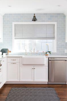 Roman shade over kitchen sink window | Rita Chan Interiors