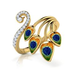 Check out some more cute rings. Gold Rings Jewelry, Jewelry Design Earrings, Gold Earrings Designs, Gold Jewellery Design, Ear Jewelry, Jewelery, Jewelry Accessories, Jewelry Holder, Peacock Ring