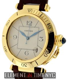 Cartier Pasha 38mm iN 18k Yellow Gold With A Silver Arabic Dial