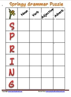 Free Seasonal Theme: SpringAcademic Focus: Grammar or Parts of SpeechPractice Grammar or Parts of Speech with this fun Acrostic style puzzle.S...