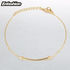 Enfashion Flat Bar spikes Bracelets Stainless Steel Charm Bracelet Femme Chain Gold color Bracelet For Women Jewelry pulseiras
